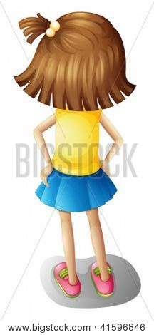 Illustration of a backview of a young girl on a white background