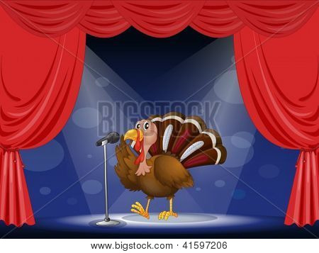 Illustration of a turkey in the limelight