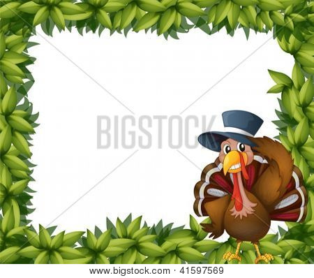 Illustration of a turkey and the leafy frame on a white background