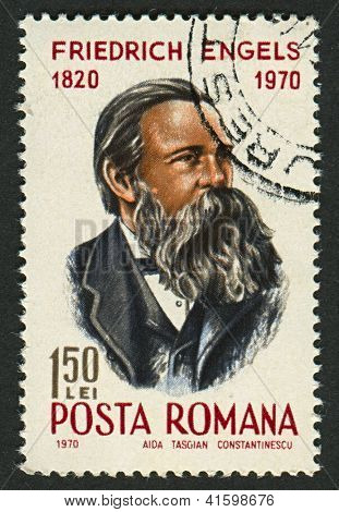 ROMANIA - CIRCA 1970: Postage stamps printed in Romania dedicated to Friedrich Engels (1820-1895), German social scientist, author, political theorist, philosopher, circa 1970.
