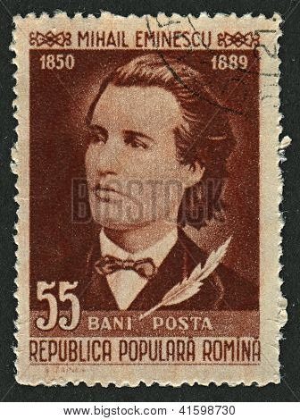 ROMANIA - CIRCA 1958: Postage stamps dedicated to Mihai Eminescu (1885 - 1889), Romanian poet, novelist and journalist, circa 1958.