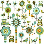 whimsy forest with flower trees and birds