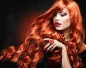 stock photo of long nails  - Red Hair - JPG