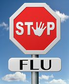 stock photo of flu shot  - stop flu by vaccination or immunization shot with flu vaccine for prevention - JPG