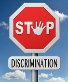 stock photo of racial discrimination  - stop discrimination equal rights equality no racism based on age race or ethnicity gender - JPG