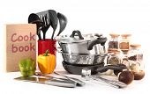stock photo of food preparation tools equipment  - composition of kitchen tools - JPG
