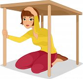 stock photo of disaster preparedness  - Illustration of a Woman Hiding Under a Table - JPG