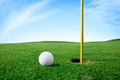 stock photo of grass area  - Golf ball on green grass next hole - JPG
