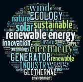 stock photo of sustainable development  - Renewable energy concept in word collage - JPG