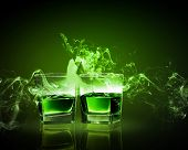picture of absinthe  - Two glasses of green absinth with fairy - JPG
