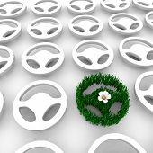 Постер, плакат: Зеленый автомобиль рулевое колесо