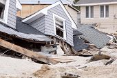 LAVALLETTE, NJ - JAN 13: The remnants of homes destroyed after Hurricane Sandy struck the shore in O
