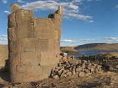 stock photo of urn funeral  - Funeral tower at Lake Titicaca in Peru - JPG