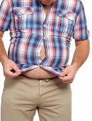 pic of belly-button  - Fat man with a big belly - JPG