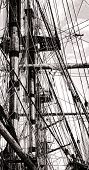 Mast And Rope Cordage Rigging On An Old Sail Ship