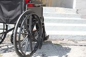 stock photo of disable  - Disabled person in front of the stairs - JPG
