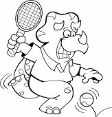 Cartoon dinosaur playing tennis