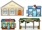 Illustration of a gallery, drug store, barber shop and zoo on a white background