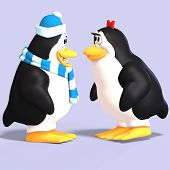 picture of growler  - cute penguin couple in love with Clipping Path - JPG