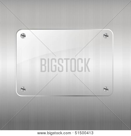 Metal Background And Glass Frame With Gradient Mesh, Vector Illustration