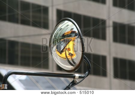 Convex Or Concave Mirror On A School Bus That Is Driving