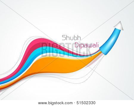 Subh Deepwali (Happy Deepawali) celebration concept with firecracker on colorful wave background.