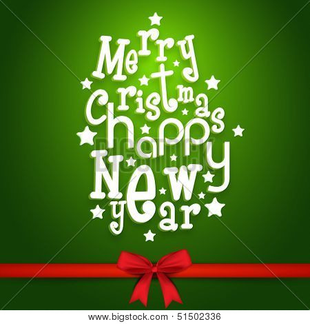 Beautiful Merry Christmas and Happy New Year on green background with red ribbon.