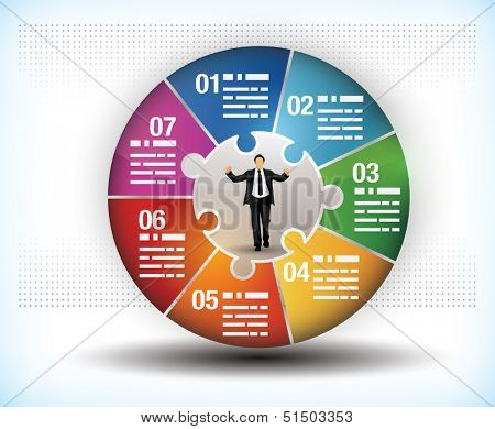Design template of a colorful business wheel chart with seven segments or components and a central figure of a businessman