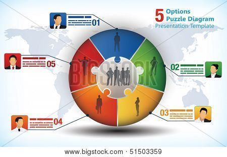 5 sided business chart with businessman avatars and place for text and a world map