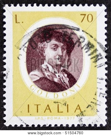 ITALY - CIRCA 1977: a stamp printed in Italy shows image of Carlo Goldoni (1707 - 1793), famous Italian playwriter. Italy, circa 1977