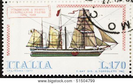 ITALY - CIRCA 1977: a stamp printed in Italy shows image of  Paddlesteamer Ferdinando Primo (Italian Royal Navy). Italy, circa 1977