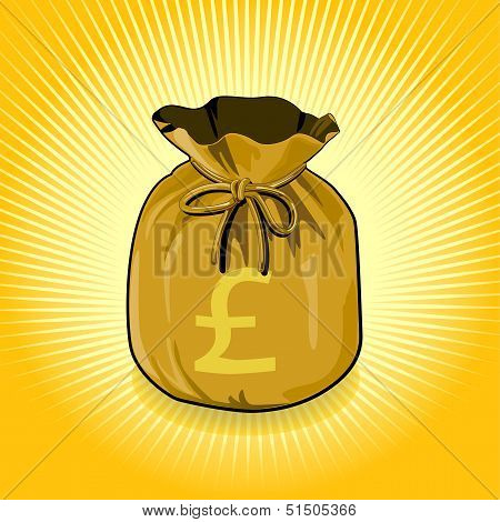 British Pound Sterling Gold Bag of Money Save for Success