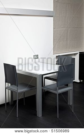 High-tech dining table in modern minimalism style