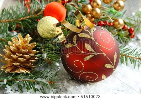 Christmas Composition With Christmas Ball And Decoration