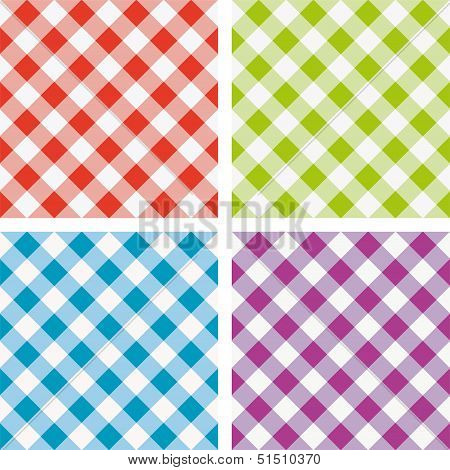 Vector Set Of Colorful Picnic Cooking Tablecloth