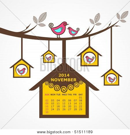 Calendar of November 2014 with birds sit on branch stock vector
