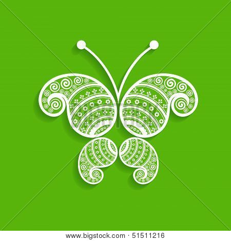 Green eco  decorative butterfly