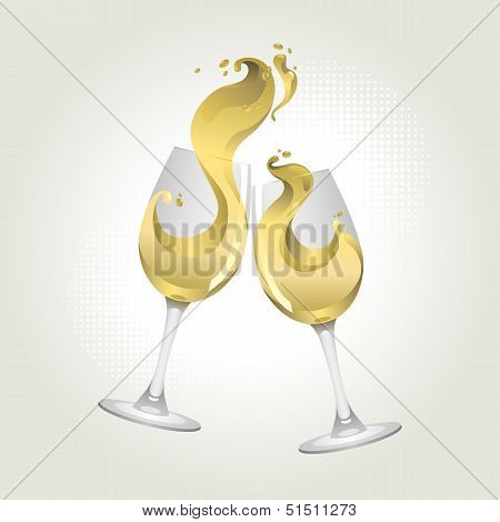 Toasting gesture two white wine glasses