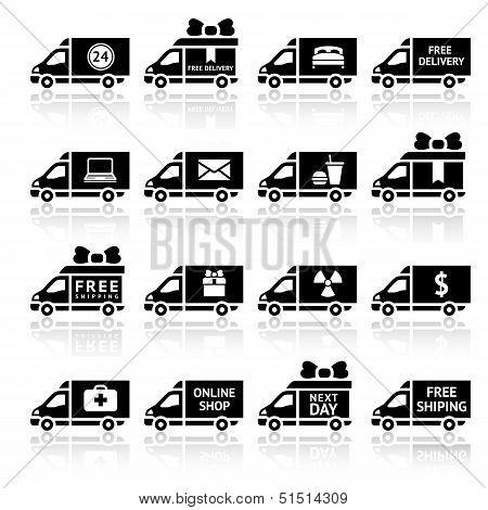 Set of Cargo trucks black icons