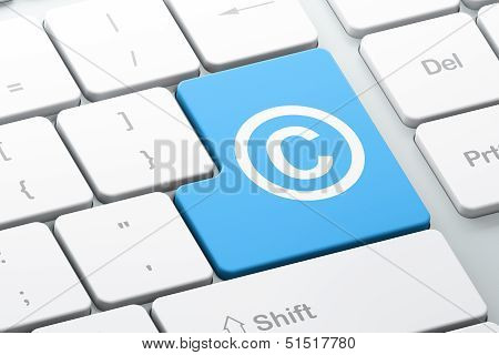 Law concept: Copyright on computer keyboard