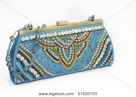 Blue holiday bag with stones and embroidery