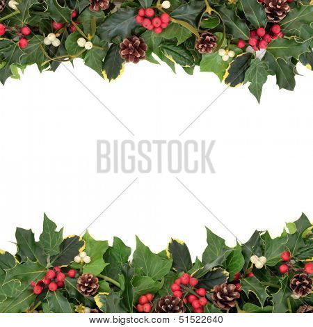 Christmas floral background border with holly, ivy, mistletoe, pine cones and winter greenery over white background.