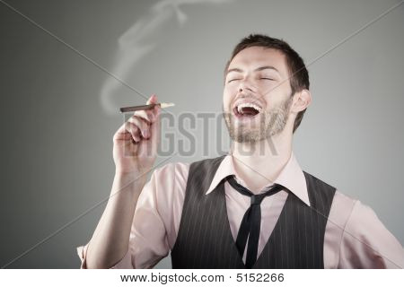Laughing Young Man With Small Cigar