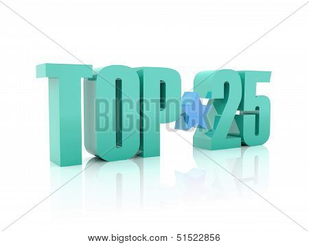Top twenty-five word isolated on white background. 3D illustration.