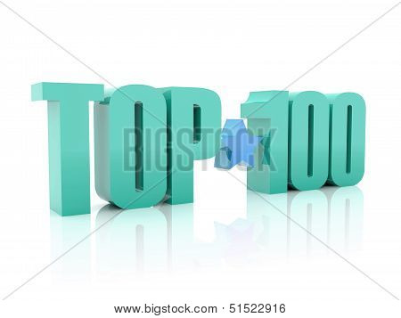 Top hundred word isolated on white background. 3D illustration.