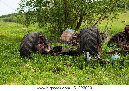 Abandoned Axle With Wheels