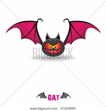 vector funny devil bat with wings.