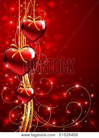 Valentines background with tree red Hearts