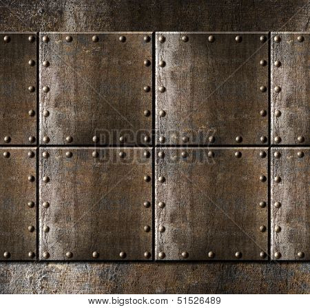 metal armour background with rivets