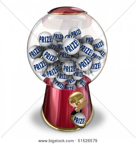 Prize balls in a gumball or candy machine to illustrate winning a contest jackpot or special reward or award